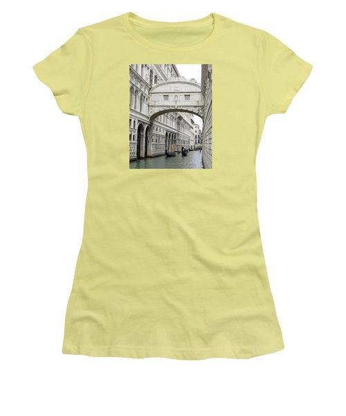 Gondolas Going Under The Bridge Of Sighs In Venice Italy Women's T-Shirt (Junior Cut) by Richard Rosenshein