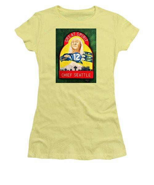 Great Spirit Seattle 12s Women's T-Shirt (Junior Cut) by Rand Swift