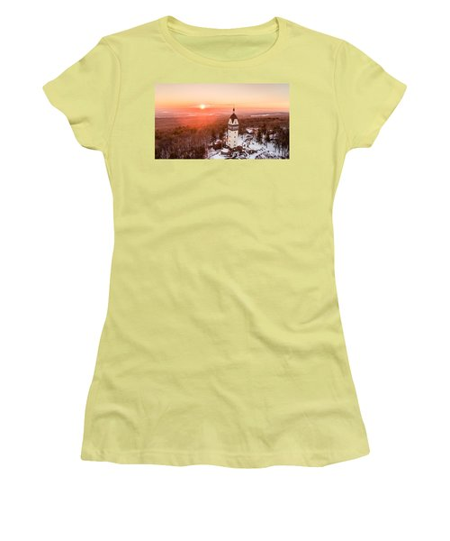 Women's T-Shirt (Junior Cut) featuring the photograph Heublein Tower In Simsbury, Connecticut by Petr Hejl