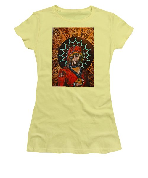 Women's T-Shirt (Junior Cut) featuring the painting Lady Of Spades by Sandro Ramani