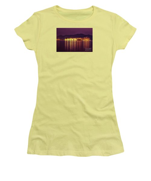 Women's T-Shirt (Athletic Fit) featuring the photograph Lake Palace Night Scenery by Yew Kwang