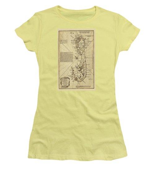 Map Of Bermuda 1750 Women's T-Shirt (Junior Cut) by Andrew Fare