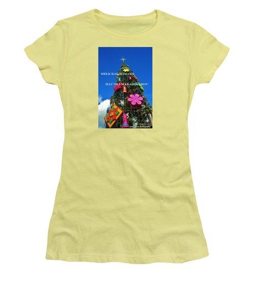 Merry Christmas  Happy New Year  Hawaiian Women's T-Shirt (Junior Cut) by Craig Wood