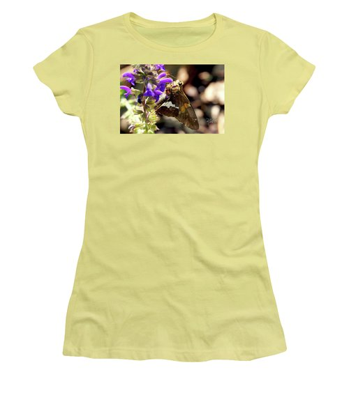 Moth On Purple Flower Women's T-Shirt (Athletic Fit)