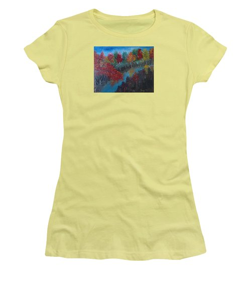 New Hampshire In Autumn Women's T-Shirt (Junior Cut) by Roxy Rich