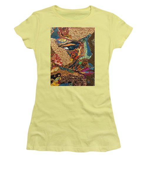 Nina Simone Fragmented- Mississippi Goddamn Women's T-Shirt (Athletic Fit)