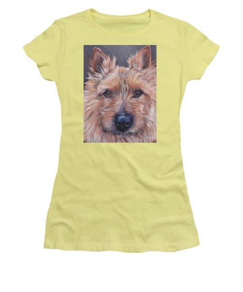 Women's T-Shirt (Junior Cut) featuring the painting Norwich Terrier by Lee Ann Shepard