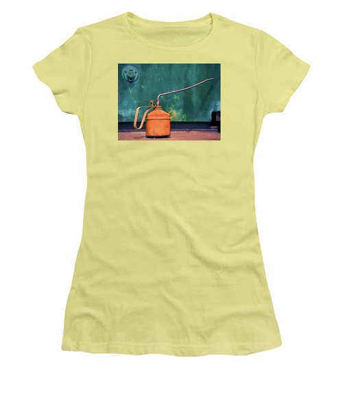 Oil Can On The Engine Women's T-Shirt (Junior Cut) by Gary Slawsky
