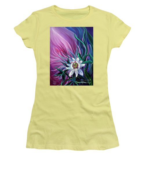 Passion Flower Women's T-Shirt (Junior Cut) by Nancy Cupp