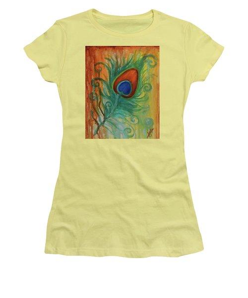 Peacock Feather Women's T-Shirt (Junior Cut) by Agata Lindquist