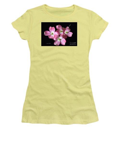 Pink Dogwood Branch Women's T-Shirt (Junior Cut) by Jeannie Rhode