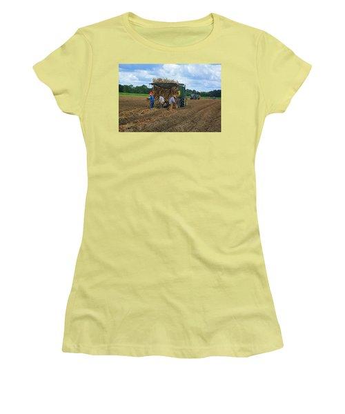 Planting Sugarcane Women's T-Shirt (Junior Cut) by Ronald Olivier