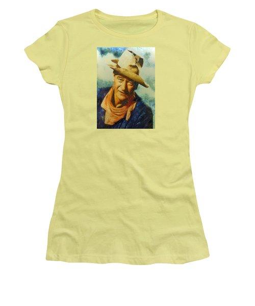 Women's T-Shirt (Junior Cut) featuring the digital art Portrait Of John Wayne by Charmaine Zoe
