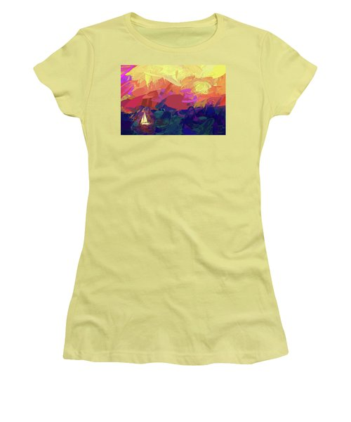 Women's T-Shirt (Junior Cut) featuring the photograph Sailing by James Bethanis