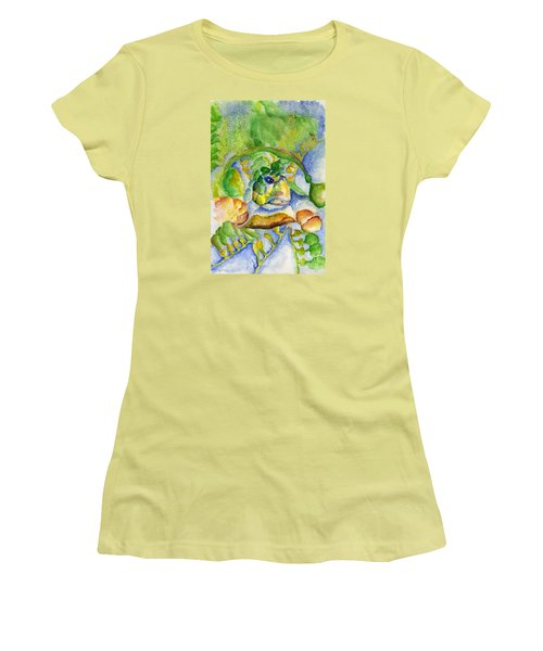 Women's T-Shirt (Junior Cut) featuring the painting Sea Turtle Hideaway by Tamyra Crossley