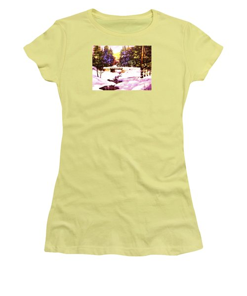 Women's T-Shirt (Junior Cut) featuring the painting Seasonal  Change by Al Brown