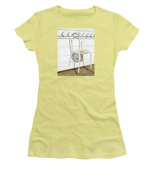 Women's T-Shirt (Junior Cut) featuring the photograph Shadows Of Suspended White Chair And Autumn Leaf by Gary Slawsky