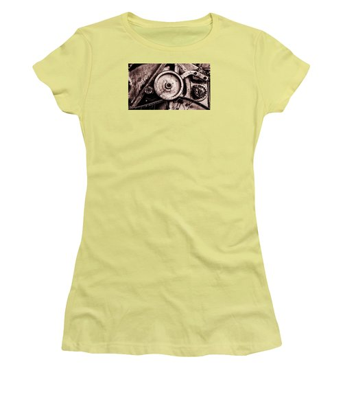 Soviet Ussr Combine Harvester Abstract Cogs In Monochrome Women's T-Shirt (Junior Cut) by John Williams