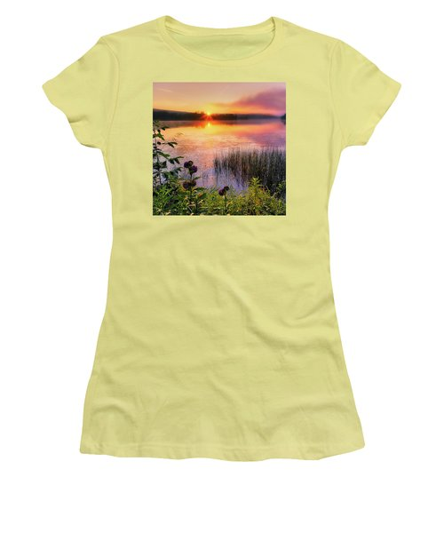Women's T-Shirt (Junior Cut) featuring the photograph Summer Sunrise Square by Bill Wakeley