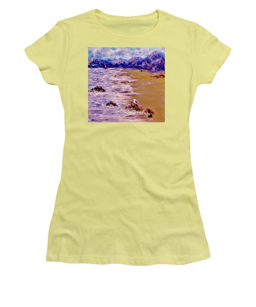 Women's T-Shirt (Junior Cut) featuring the painting Summer Whispers.. by Cristina Mihailescu
