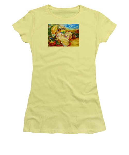 Women's T-Shirt (Junior Cut) featuring the painting Sun Set by Emery Franklin