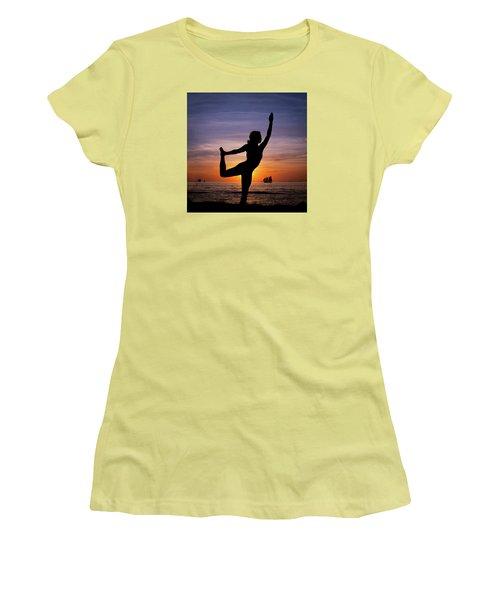 Sunset Yoga Women's T-Shirt (Junior Cut) by Scott Meyer