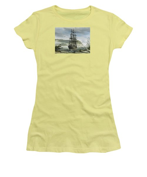 Women's T-Shirt (Junior Cut) featuring the painting Tall Ship Cove by James Williamson
