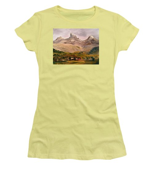 Tetons From The West Women's T-Shirt (Junior Cut) by Larry Hamilton