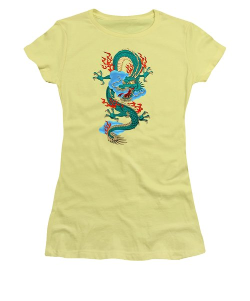 The Great Dragon Spirits - Turquoise Dragon On Rice Paper Women's T-Shirt (Junior Cut) by Serge Averbukh