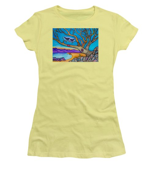 Women's T-Shirt (Junior Cut) featuring the painting The Kiss And Love Is All There Is by Lori Miller