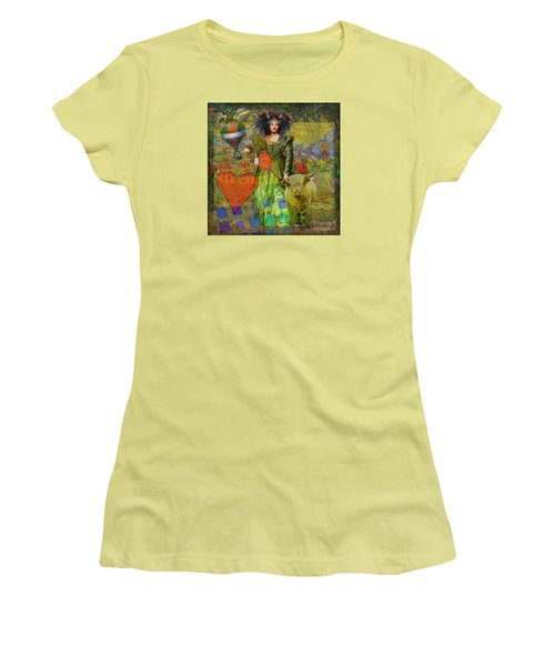Vintage Taurus Gothic Whimsical Collage Woman Fantasy Women's T-Shirt (Junior Cut) by Mary Hubley