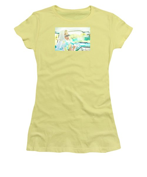Vintage Val In The Turquoise Vintage Car Women's T-Shirt (Athletic Fit)
