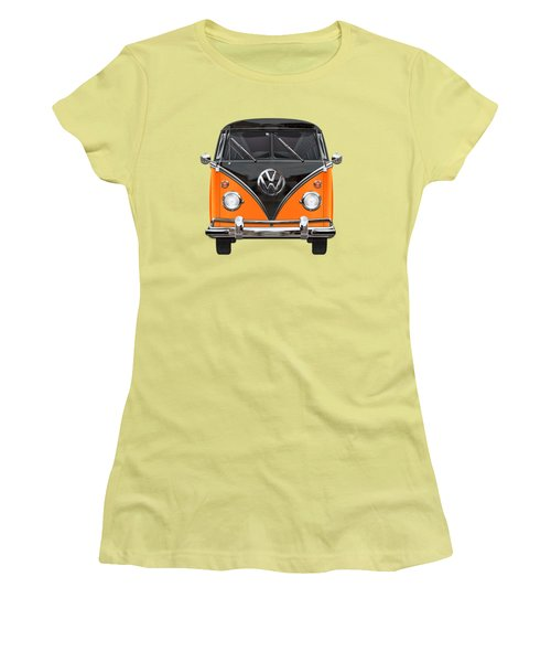 Volkswagen Type 2 - Black And Orange Volkswagen T 1 Samba Bus Over Blue Women's T-Shirt (Athletic Fit)