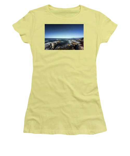 Women's T-Shirt (Athletic Fit) featuring the photograph Wave Blowing By The Stong Wind At Th Pacific Ocean Coast With Ro by Jingjits Photography