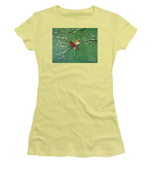 Women's T-Shirt (Athletic Fit) featuring the painting Winter Cardinals by Denise Tomasura