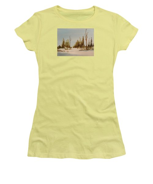 Winter Morning Women's T-Shirt (Junior Cut) by Larry Hamilton
