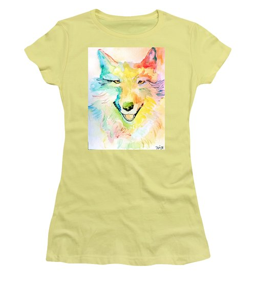 Women's T-Shirt (Athletic Fit) featuring the painting Wolfie by Denise Tomasura