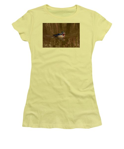 Women's T-Shirt (Junior Cut) featuring the photograph Wood Duck by Jerry Cahill
