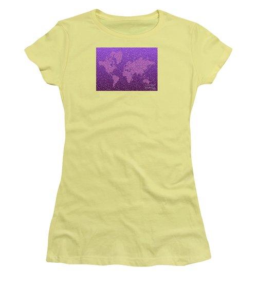 World Map Kotak In Purple Women's T-Shirt (Junior Cut) by Eleven Corners