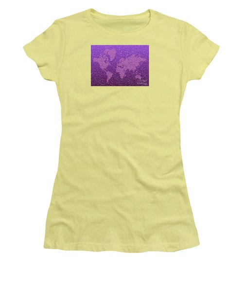World Map Kotak In Purple Women's T-Shirt (Athletic Fit)