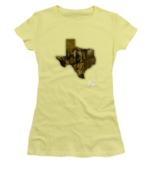 Texas State Map Collection Women's T-Shirt (Junior Cut) by Marvin Blaine