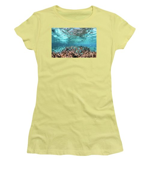 Underwater Coral Reef And Fish In Indian Ocean, Maldives. Women's T-Shirt (Athletic Fit)
