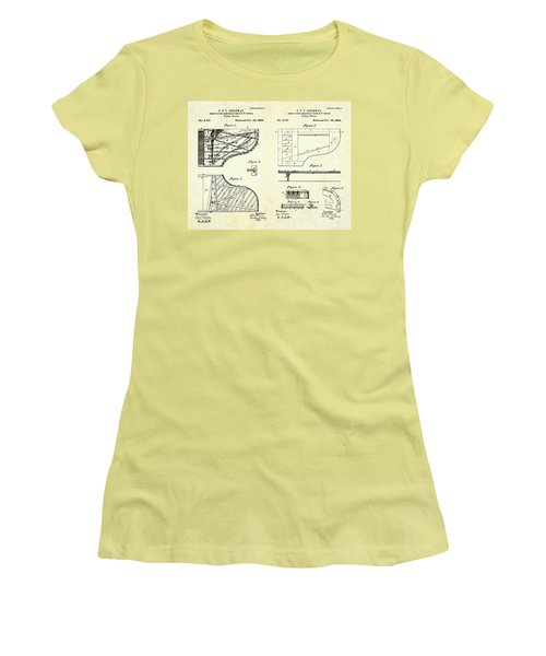 1880 Steinway Piano Forte Patent Art Sheets V2 Women's T-Shirt (Junior Cut) by Gary Bodnar