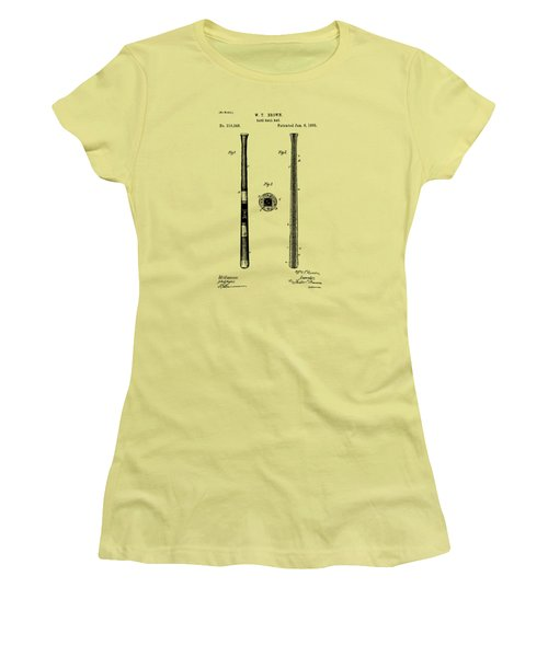 1885 Baseball Bat Patent Artwork - Vintage Women's T-Shirt (Athletic Fit)