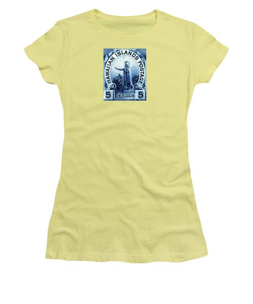 1899 Statue Of Kamehameha Stamp Women's T-Shirt (Athletic Fit)