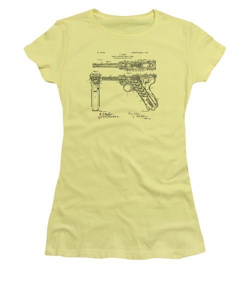 Women's T-Shirt (Junior Cut) featuring the drawing 1904 Luger Recoil Loading Small Arms Patent - Vintage by Nikki Marie Smith