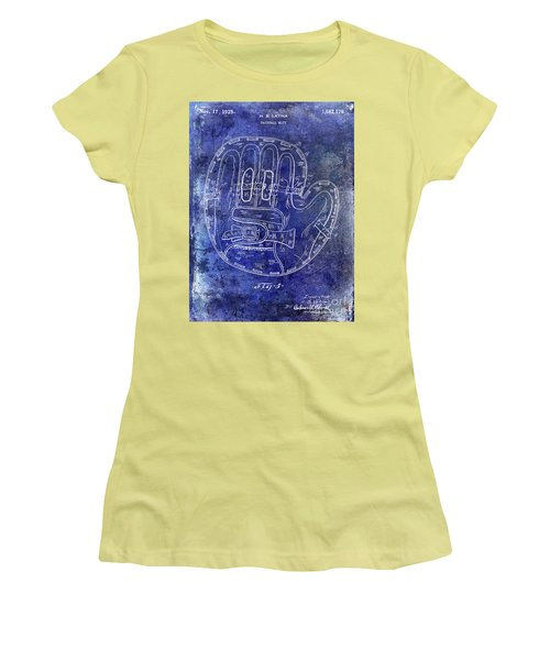 1925 Baseball Glove Patent Blue Women's T-Shirt (Athletic Fit)