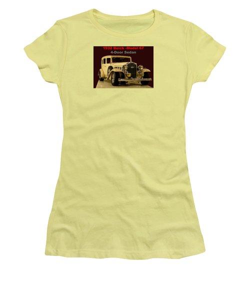 Women's T-Shirt (Junior Cut) featuring the photograph 1932 Buick 4door Sedan by B Wayne Mullins
