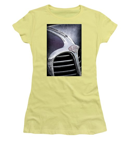 Women's T-Shirt (Junior Cut) featuring the photograph 1947 Delahaye Emblem -1477ac by Jill Reger