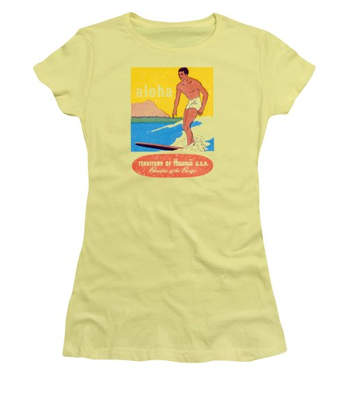 Women's T-Shirt (Junior Cut) featuring the painting 1950 Aloha Hawaii by Historic Image
